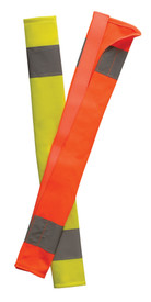 Occunomix High Visibility Hook & Loop Seat Belt Cover - Occunomix Yellow and orange high visibility seat belt covers with 2 silver reflective strips on both ends