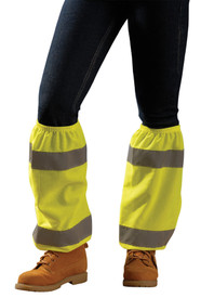 Occunomix High Visibility Hook & Loop Leg Gaiters - Occunomix Yellow mesh high visibility Leg gaiters with 2 silver reflective strips