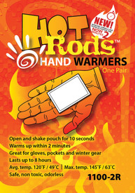 Occunomix Hot Rods Hand Warmers 40 Pair Display - Pack of Occunomix Hood Rods single pair hand warmers