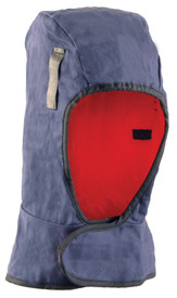 Occunomix 3 Layers Thinsulate Lined Shoulder Length Liner - Occunomix head protective liner with Red interior and blue exterior with Velcro neck flap