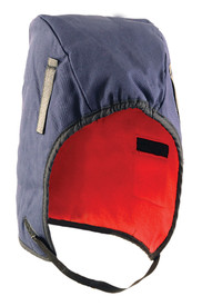 Occunomix Fleece Insulated Mid Length Hat Liner - Occunomix head protective liner with Red interior and blue exterior with thin Velcro under the chin strap