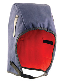 Occunomix Fleece Lined 13 Inch Winter Head Cover - Occunomix head protective liner with red fleece ling and blue exterior with thin Velcro under the chin strap