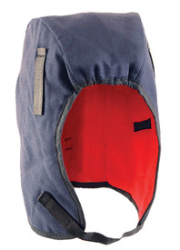 Occunomix Value 2 Layer Fleece Lined Winter Head Protector - Occunomix head protective liner with red fleece ling and blue exterior with thin Velcro under the chin strap