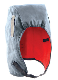 Occunomix Tyvek 2 Layer Fleece Lined Winter Head Protector - Occunomix head protective liner with red fleece ling and blue exterior with thin Velcro under the chin strap