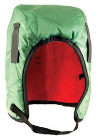 Occunomix 3 Layers Quilted Nylon Winter Head Protector - Occunomix head protective liner with red interior, Green quilted exterior and thin Velcro chin strap