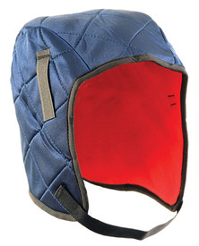 Occunomix 3 Layers Quilted Head Protector - Occunomix head protective liner with red interior, Blue quilted exterior and thin Velcro chin strap