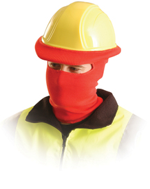 Occunomix Full Face Hard Hat Tube Liner - Occunomix red full face and neck ribbed covering and goes over snugly to hard hat brim