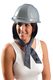 Occunomix Miracool FR Bandana - Woman wearing Occunomix gray cooling bandana around her neck