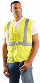 Occunomix Class 2 Hi-Viz Miracool Cooling Vest - Man wearing an Occunomix Yellow Hi-Viz padded Velcro front vest with high visibility silver reflective striping placed horizontal at vest mid section and silver reflective tap going up both sides and over both shoulders