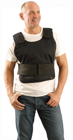 Occunomix FR Phase Change Cooling Vest No Cooling Packs - Man wearing Occunomix Black Velcro shoulder and side heavy  cooling flame resistant vest