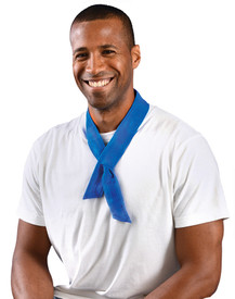 Occunomix Miracool Adjustable Bandana - Man wearing Occunomix Blue cooling Bandana around neck