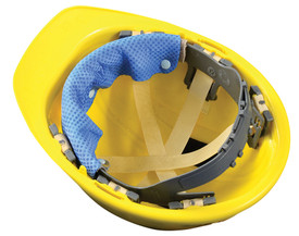 Occunomix Miracool Hard Hat Snap On Sweatbands - Occunomix Blue sweatband snapped on to inside front of hard hat