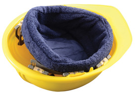 Occunomix Miracool Terry Cloth Hard Hat Liner - Occunomix blue terry cloth sweat liner inserted and attached to the entire inside of yellow hard hat so that the terry cloth will cover a person's head