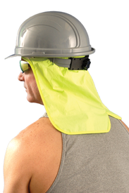 Occunomix 100% Cotton Neck Shade & Terry Sweatband - Man wearing grey hard hat with Occunomix High visibility yellow neck shade covering ear and neck