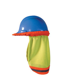 Occunomix Hi-Viz Mesh Hard Hat Shade - Occunomix High visibility yellow and orange mesh hard hat shade covering with silver on orange reflective striping attached to blue hard hat