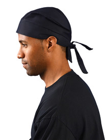 Occunomix FR Tie Hat Doo Rag - Occunomix Plain black head covering bandana with back tie for secure fit