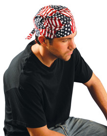 Occunomix Deluxe Elastic Tie Hat Doo Rag - Man wearing Occunomix Red, white and blue American flag style head bandana hat with back tie