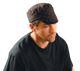 Occunomix Quilted 100% Cotton Beanie - Occunomix Black cotton padded hat with visor and red diamond pattern