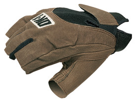 Occunomix Anti-Vibration Half Finger Gloves - Side view of Occunomix Brown fingerless gloves with Velcro hook & loop wrist