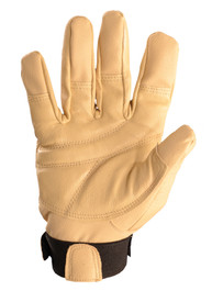 Occunomix Premium Padded Palm Work Glove - Occunomix Tan soft leather full finger cover work glove with Velcro hook & loop wrist