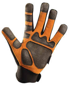 Occunomix Kevlar Fiber Cut Resistant Work Glove - Occunomix Black and orange suede glove with Velcro hook & loop wrist and added shiny black material on palm and fingertips