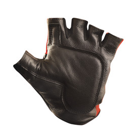 Occunomix Half Finger Back Gel Cloth Anti-Vibration Gloves - Occunomix Black and red leather lifting fingerless gloves