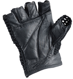 Occunomix Leather Half Finger Knuckle Lifter Gloves - Occunomix Black leather palm woven mesh fingerless gloves