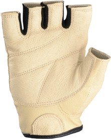 Occunomix Premium Full Grain Leather Lifter Gloves - Palm view of Occunomix Tan leather fingerless work gloves with Velcro wrist
