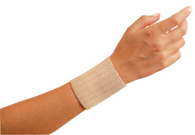 Occunomix 3 Inch Soft Elastic Wrist Assist Support - Occunomix Tan elastic stretch soft wrist band place on wrist