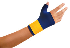 Occunomix Carpal Tunnel Thumb Wrist Support Wrap - Occunomix Blue and yellow slip on semi glove thumb and wrist support