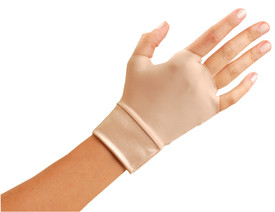 Occunomix Fingerless Spandex Hand & Wrist Mitt - Occunomix Light skin color hand fingerless glove and cuff around wrist