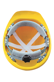 Occunomix Regular Brim Hard Hat Ratchet Suspension - Occunomix Inside view of Occunomix yellow regular brim hard hat showing ratchet suspension