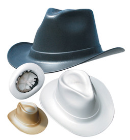 Occunomix Cowboy Style Hard Had Squeeze Lock Suspension - Occunomix cowboy hard hats showing a beige, white and black