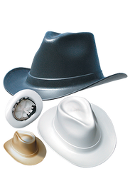 Occunomix Cowboy Style Hard Hat Ratchet Suspension - Occunomix cowboy hard hats showing a beige, white and black