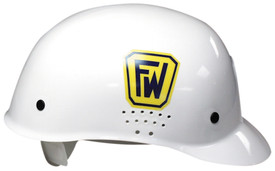 Occunomix Bump Cap Hard Hat - Occunomix White bump hard hat with perforated ear area, side view