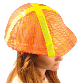 Occunomix Hard Hat High Visibility Mesh Covers - Occunomix Orange high visibility mesh hard hat cover with reflective yellow strips