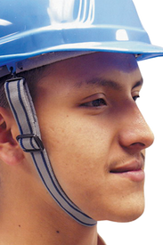 Occunomix Hard Hat Chin Strap Accessory - Occunomix Side view of a man wearing a Occunomix hard hat and chin strap showing tightening buckle
