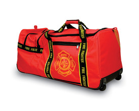 Occunomix Large Firefighter Red Gear Bag on Wheels - Occunomix Red fire fighter wheel gear bag with multiple external zipper pockets, main handle and wheels