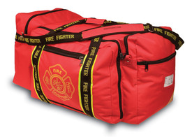 Occunomix Firefighter Large Gear Bag  - Occunomix Red large fire fighter gear bag with multiple external zipper pockets, main handle and large shoulder strap