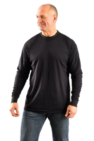Occunomix Flame Resistant CAT 2 Long Sleeve T-Shirt - Occunomix Man wearing Occunomix FR Long Sleeve Black T-Shirt