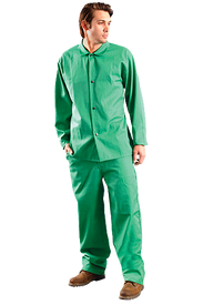 Occunomix FR CAT 1 Green Welding Jacket - Occunomix Man wearing Occunomix Green long sleeve Welding Jacket with 4 button front closure and matching Green Welding Pants