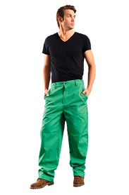 Occunomix FR CAT 1 Green Welding Pants - Occunomix Man wearing Occunomix Green Welding Pants with 2 slash front pockets, zipper front  and snap closure
