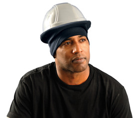 Occunomix Flame Resistant CAT 2 Hard Hat Tube Liner - Man wearing Occunomix Navy blue hard hat head warmer that fit on top of head and over brim of hard hats