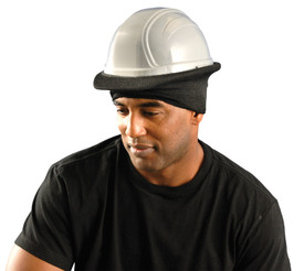 Occunomix Flame Resistant Nomex CAT 1 Hard Hat Tube Liner - Man wearing Occunomix Navy black hard hat head warmer that fit on top of head and over brim of hard hats