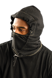 Occunomix Premium FR 3-In-1 Fleece Balaclava - Occunomix Man wearing Occunomix FR 3 in 1 Black Fleece Balaclava over his head and face up to and over his nose showing only his eyes. Balaclava has draw strip scrunching Balaclava close around his face.