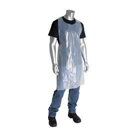 PIP Disposable Polyethylene Food Processing White Apron - Disposable semi transparent tie back safety work apron.