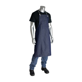 PIP 100_ Cotton Reusable Denim Apron - Navy blue reusable denim apron with rope shoulder ties and front pouch.