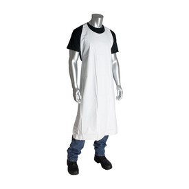 PIP 8 mil White Vinyl Reusable Apron - White long safety work apron with full chest coverage.