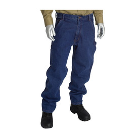 PIP CAT 2 Flame Resistant Denim Carpenter Jeans - Standard blue fire resistant utility work jeans with belt loops, worn naturally on a model.