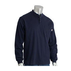 PIP FR CAT 2 100_ Cotton Long Sleeve Henley Work Shirt - Long sleeve collared navy blue shirt with front pocket and elastic fabric wrists.